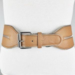 BCBG Brown Wide Waist Faux Leather Zipper Belt
